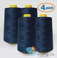 AK-Trading 4-Pack NAVY Serger Cone Thread (6000 yards each) of Polyester thread for Sewing, Quilting, Serger #796