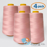 AK-Trading 4-Pack PINK Serger Cone Thread (6000 yards each) of Polyester thread for Sewing, Quilting, Serger #602