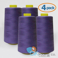 AK-Trading 4-Pack PURPLE Serger Cone Thread (6000 yards each) of Polyester thread for Sewing, Quilting, Serger #635