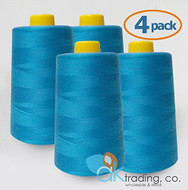 AK-Trading 4-Pack TURQUOISE Serger Cone Thread (6000 yards each) of Polyester thread for Sewing, Quilting, Serger #812