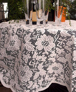 AK-Trading 60-Inch Round Ivory Floral Lace Crochet Tablecloth Overlay Table Cover