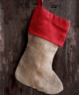"AK-Trading Burlap Jute Holidays Christmas Stockings - Pack of 6 (Natural Jute Stocking with Red Cuff, 8"" x 17""H x 12"" foot)"