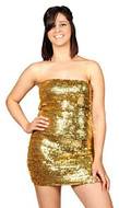 AK-Trading Exotic Glitzy Sequin Stretch Sequin Tube Dress (Gold)