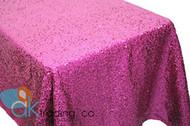 AK-Trading FUSCHIA Sequin Rectangular Tablecloth, Rain Drops Sequin Taffeta Fabric Sequin Table Cover- FUSCHIA