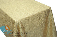 AK-Trading GOLD Sequin Rectangular Tablecloth, Rain Drops Sequin Taffeta Fabric Sequin Table Cover- GOLD