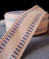 "AK-Trading Polyester Blend Burlap Webbing Ribbon with Stitching, 1.5"" Inches X 10 Yards (Blue)"