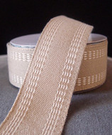 "AK-Trading Polyester Blend Burlap Webbing Ribbon with Stitching, 1.5"" Inches X 10 Yards (Ivory)"