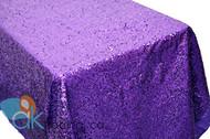 AK-Trading PURPLE Sequin Rectangular Tablecloth, Rain Drops Sequin Taffeta Fabric Sequin Table Cover- PURPLE