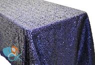 AK-Trading ROYAL BLUE Sequin Rectangular Tablecloth, Rain Drops Sequin Taffeta Fabric Sequin Table Cover- ROYAL BLUE