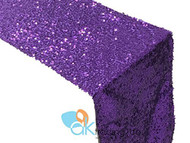 AK-Trading Sequin Runner, 12x72 Inch Rain Drops Sequin Taffeta Fabric Sequin Runner (Purple)