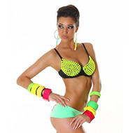 AK-Trading Sexy Neon Yellow Spike Punk Clubwear Spiked Padded Party Bra
