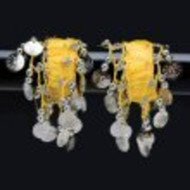 Belly Dance Dancing Arm Cuffs Bracelet - YELLOW/SILVER (PAIR)