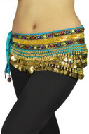 "Belly Dancing ""Gemstone"" Deluxe Velvet Hip Scarf - Turquoise/gold"