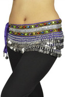 "Belly Dancing ""Gemstone"" Velvet Hip Scarf Skirt Wrap - Purple/silver"