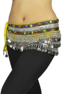 "Belly Dancing ""Gemstone"" Velvet Hip Scarf Skirt Wrap - Yellow/silver"