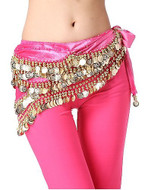 Belly Dancing Wavy Design Deluxe Velvet Hip Scarf - Fuchsia with Gold Coins #V280