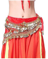 Belly Dancing Wavy Design Deluxe Velvet Hip Scarf - Red with Gold Coins #V280