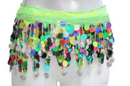 """Colorful Paillettes Belly Dancing """"Big Sequin"""" - Green/Silver"""
