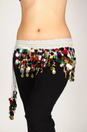 Colorful Paillettes Belly Dancing Scarf - White W/Silver Coins
