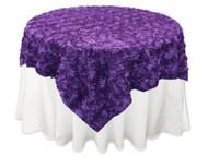 Grandiose Rose Design Rosette Table Overlay Table Cover - Purple (72x72)
