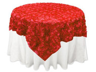 Grandiose Rose Design Rosette Table Overlay Table Cover - Red (84x84)