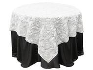 Grandiose Rose Design Rosette Table Overlay Table Cover - White (72x72)