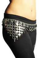 Gypsy Hippie Belly Dance Silver Metal Dangling Coins Chains Belt Adjustable - #B136S