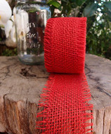 JUTE BURLAP RIBBON - RED, 2.5 INCH X 10 YARDS