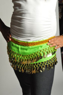 Kids Belly Dance Zumba Hip Scarf with Coins & Beads - Green/Gold