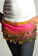Kids Belly Dance Zumba Hip Scarf with Coins & Beads - Hot Pink/Gold