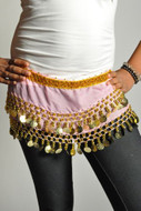 Kids Belly Dance Zumba Hip Scarf with Coins & Beads - Light Pink/Gold