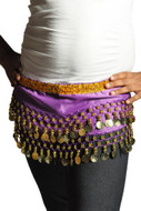 Kids Belly Dance Zumba Hip Scarf with Coins & Beads - Purple/Silver