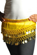 Kids Belly Dance Zumba Hip Scarf with Coins & Beads - Yellow/Silver