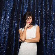 MIDNIGHT BLUE Sequin Taffeta Fabric Photography Backdrop, Sequin Photo Booth Backdrop, Sequin Drape - MADE IN USA - Select from 3 Sizes. (5ft x 6ft)