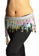 Multi-Row Paillettes Gold Coins Belly Dance Wrap & Hip Scarf, Lively Style -white