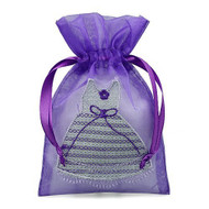 Pack of 12 Organza Mini Dress Bags - Couture Party Favor Bags for Bridal Shower or Bachelor Party (Purple)