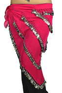 Pearl Belly Dancing 5 Line Triangle Chiffon Hip Scarf With Coins Hot Pink