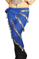 Pearl Belly Dancing 5 Line Triangle Chiffon Hip Scarf With Coins Royal Blue