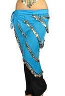 Pearl Belly Dancing 5 Line Triangle Chiffon Hip Scarf With Coins Turquoise