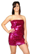 Pearl Women's Exotic Sexy Sparkly Sequin Tube Dress - HOT PINK
