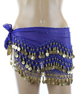 Plus Size Belly Dancing Hip Scarf - Royal Blue with Gold Coins