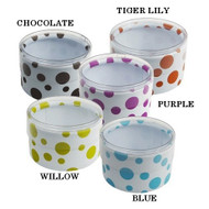 Polka Dot Print Plastic Mini Round Containers Set of 6 (Blue)