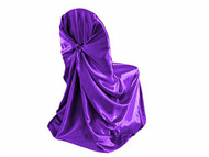 Purple Universal Satin Chair Cover for Events & Parties - 10Pcs Pack