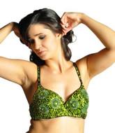 Sequin Beaded Belly Dancing Costume Top Bra - GREEN