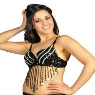 Sequin Beaded Belly Dancing Costume Top Bra w/Coins - BLACK