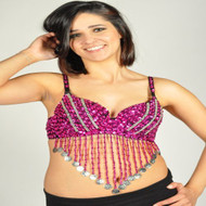 Sequin Beaded Belly Dancing Costume Top Bra w/Coins - FUCHSIA