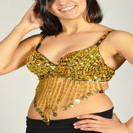 Sequin Beaded Belly Dancing Costume Top Bra w/Coins - GOLD