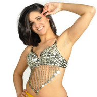 Sequin Beaded Belly Dancing Costume Top Bra w/Coins - SILVER