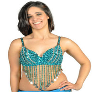 Sequin Beaded Belly Dancing Costume Top Bra w/Coins - TURQUOISE