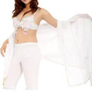 White Belly Dancing Chiffon Veil with Silver Sequence Trim